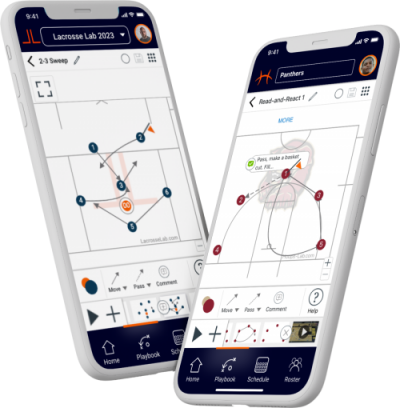 Two phones floating in space with screenshots of Lacrosse Lab and Hoops Lab playbook.